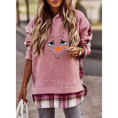 Print Grid Long Sleeves Christmas Sweatshirt