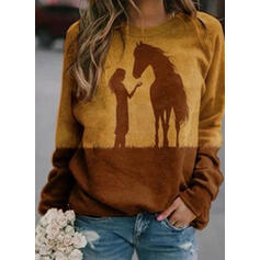 Animal Print Figure Round Neck Long Sleeves Sweatshirt