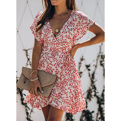 Print Short Sleeves A-line Above Knee Casual Dresses