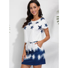 Print/Tie Dye Short Sleeves Sheath Above Knee Casual T-shirt Dresses