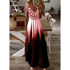 Print/Tie Dye Short Sleeves A-line Skater Casual/Vacation Maxi Dresses