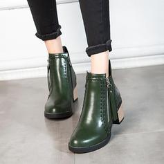 Femmes Similicuir Talon bottier Escarpins Bout fermé Bottes Bottes mi-mollets avec Zip chaussures