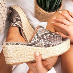 Vrouwen PU Wedge Heel Sandalen Wedges met Dier Afdrukken schoenen