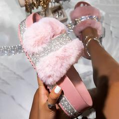 Femmes Similicuir Pailletes scintillantes Talon plat Sandales Chaussures plates Plateforme À bout ouvert Chaussons avec Strass Fourrure chaussures