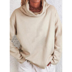 Einfarbig High Neck Lange Ärmel Pullover