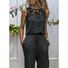 Solid Lace Casual Jumpsuits