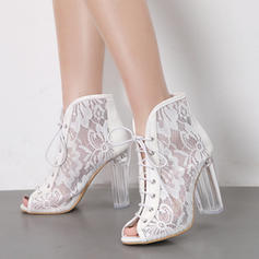Women's Lace Chunky Heel Pumps Boots Peep Toe Ankle Boots With Lace-up shoes