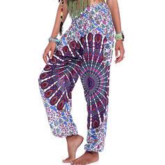 Print Color Block Sports Pants