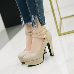 Women's PU Chunky Heel Pumps Platform With Sequin shoes