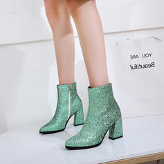 Women's Sparkling Glitter Chunky Heel Pumps Boots Mid-Calf Boots With Zipper shoes