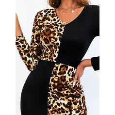 Impresión/Trozos de color/Leopardo Manga Larga Cubierta Sobre la Rodilla Casual Vestidos