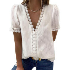 Lace Tie Dye V-Neck Short Sleeves Casual Blouses