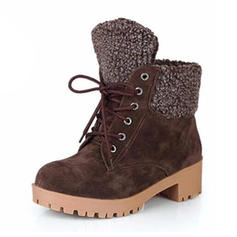 Women's Suede Chunky Heel Boots With Lace-up shoes