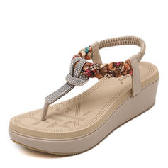 Women's PU Wedge Heel Flip-Flops With Beading shoes