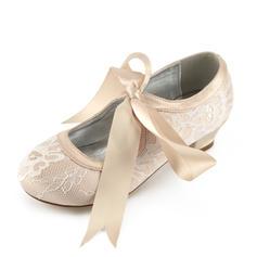 A menina de renda Silk como cetim low Heel Toe rodada Fechados Mary Jane Sapatas do florista