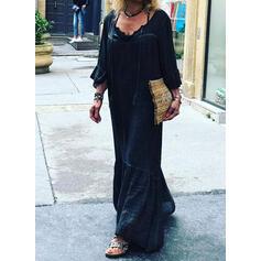 Sólido Mangas 3/4 Tendencia Pequeños Negros/Casual/Elegante Maxi Vestidos