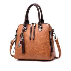 Women Vintage PU Leather Tassel Handbag Crossbody Shoulder Bag