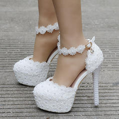 Women's Leatherette Stiletto Heel Closed Toe Platform Pumps Sandals MaryJane With Buckle Imitation Pearl Rhinestone Applique