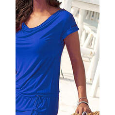 Solid Short Sleeves Bodycon Above Knee Little Black/Casual/Vacation Dresses