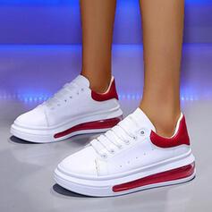Pentru Femei PU călcâi plat Balerini Vârf scăzut Deget rotund Teneşi cu Lace-up Splice Color pantofi