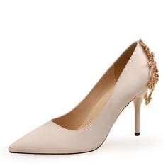 Femmes Soie comme du satin Talon stiletto Escarpins avec Strass chaussures
