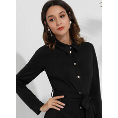 Solide Lange Mouwen A-lijn Boven de knie Zwart jurkje/Casual/Elegant Shirt/Schaatser Jurken