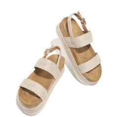 Kvinner PU Flat Hæl Sandaler Titte Tå med Spenne sko