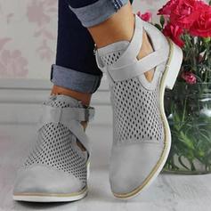 Frauen PU Flascher Absatz Flache Schuhe Geschlossene Zehe Stiefel Stiefelette mit Schnalle Hohl-out Schuhe