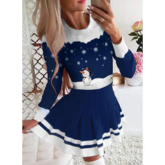 Print/Striped Long Sleeves A-line Above Knee Christmas/Elegant Skater Dresses