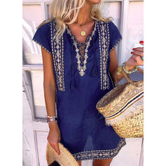 Lace Short Sleeves Shift Above Knee Casual/Boho Tunic Dresses