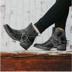 Women's PU Chunky Heel Boots With Buckle shoes