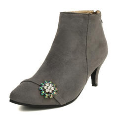 Women's Suede Cone Heel Boots Mid-Calf Boots With Beading shoes