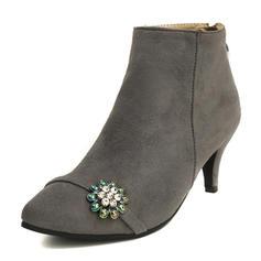 Femmes Suède Talon cône Bottes Bottes mi-mollets avec Brodé chaussures