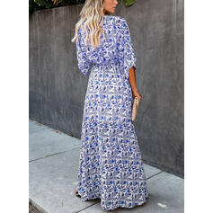 Print/Floral Long Sleeves A-line Casual/Boho/Vacation Maxi Dresses
