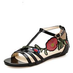 Femmes Similicuir Talon plat Sandales Chaussures plates À bout ouvert avec Motif appliqué chaussures