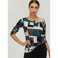 Print One Shoulder Lange Mouwen Casual T-shirts