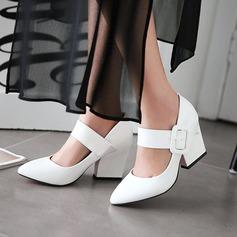 Mulheres Couro Brilhante Salto robusto Bombas com Fivela sapatos