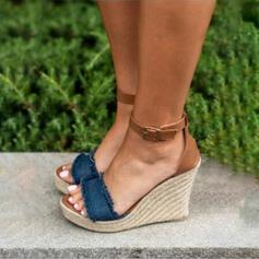 Mulheres PU Plataforma Sandálias Calços com Fivela sapatos