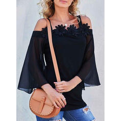 Solide Kant Off the Shoulder Lantaarn Mouw 3/4 Mouwen Casual Blouses
