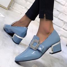 Vrouwen PU Chunky Heel Puntige teen met Strass schoenen
