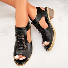 Mulheres PU Salto robusto Sandálias Bombas Peep toe Saltos com Zíper sapatos