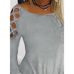 Einfarbig Rundhalsausschnitt Lange Ärmel Freizeit Stricken T-shirt