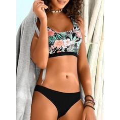 Floral Print Strap Sports Bikinis Swimsuits