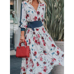 Print/Floral Long Sleeves/Lantern Sleeve A-line Casual/Elegant Maxi Dresses