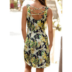 Print/Floral Sleeveless Sheath Knee Length Sexy/Casual/Vacation Dresses