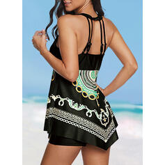 Print Hollow Out Round Neck High Neck Bohemian Classic Plus Size Tankinis Swimsuits