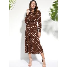 PolkaDot Long Sleeves Sheath Knee Length Casual Dresses