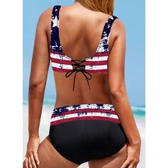 tähti Hihna V-kaula Vintage Plus-koko Bikinit Uima-Asut