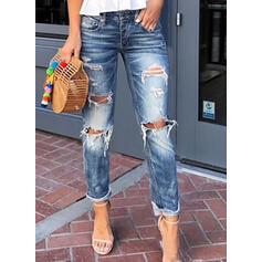 Shirred Plus Size Ripped Long Casual Sexy Denim & Jeans