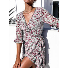 Print 3/4 Sleeves A-line Above Knee Casual/Vacation Dresses
